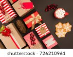 top view of christmas gifts and ... | Shutterstock . vector #726210961