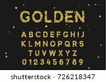 gold font set with letters from ... | Shutterstock .eps vector #726218347
