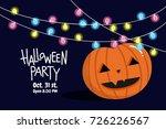 halloween party  pumpkin with... | Shutterstock .eps vector #726226567