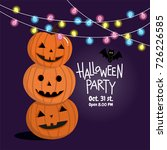 halloween party  pumpkin with... | Shutterstock .eps vector #726226585
