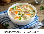 chicken and wild rice soup.... | Shutterstock . vector #726230374
