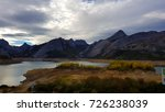 lake in mountains. with white... | Shutterstock . vector #726238039