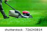 garden worker with lawn mover... | Shutterstock . vector #726243814