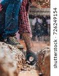 construction worker repairing a ... | Shutterstock . vector #726249154