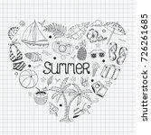 summer beach cute doodle hand... | Shutterstock .eps vector #726261685