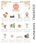 colorful cute monthly calendar... | Shutterstock .eps vector #726265315