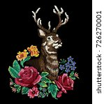 reindeer surrounded by flower... | Shutterstock .eps vector #726270001