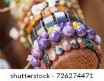 gemstone bracelets and... | Shutterstock . vector #726274471
