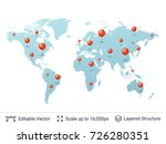 world map with location pins.... | Shutterstock .eps vector #726280351