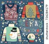 merry christmas. hand drawn... | Shutterstock .eps vector #726284179