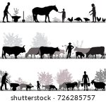 silhouettes of farmers at work... | Shutterstock .eps vector #726285757