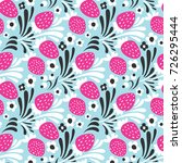 strawberry. seamless pattern.... | Shutterstock .eps vector #726295444