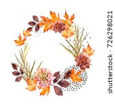 autumn watercolor wreath on... | Shutterstock . vector #726298021