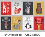 christmas animals card set ... | Shutterstock .eps vector #726298507