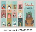 Stock vector calendar cute monthly calendar with forest animals 726298525