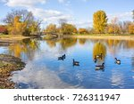 Autumn landscape with a group of canadian geese on a pond. Cloudy blue sky, yellow colored fall trees and a bridge reflect in a water in the Tenney city park. Madison, Wisconsin, Midwest USA.