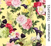 seamless floral pattern with... | Shutterstock . vector #726316921