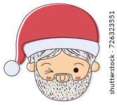 santa claus kawaii face wink... | Shutterstock .eps vector #726323551