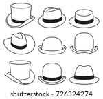 vintage hats icons. vector... | Shutterstock .eps vector #726324274