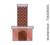 brick fireplace on color crayon ... | Shutterstock .eps vector #726328201