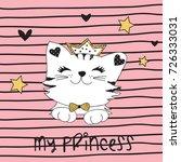 cute princess cat vector...