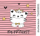 cute princess cat vector... | Shutterstock .eps vector #726333031