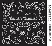 swashes and swirls set. white... | Shutterstock .eps vector #726339901