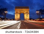 arc de triomphe and champs... | Shutterstock . vector #72634384