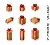 set of gift boxes with bows and ... | Shutterstock .eps vector #726358384