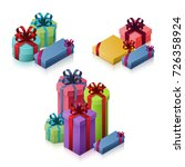 set of gift boxes with bows and ... | Shutterstock .eps vector #726358924