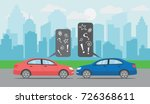 two cars facing each other with ... | Shutterstock .eps vector #726368611