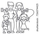 active happy family in sport... | Shutterstock .eps vector #726374425