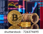 golden bitcoin are stacked on a ... | Shutterstock . vector #726374695