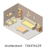 isometric living room interiors ... | Shutterstock .eps vector #726376129