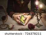 tarot cards in fortune teller... | Shutterstock . vector #726378211