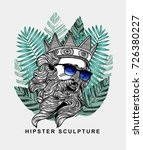 hipster classical sculpture.... | Shutterstock .eps vector #726380227