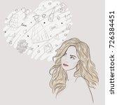 young attractive woman portrait....   Shutterstock .eps vector #726384451