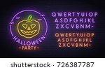 halloween pumpkin neon sign ... | Shutterstock .eps vector #726387787