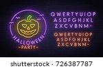 halloween pumpkin neon sign ... | Shutterstock .eps vector #726387787
