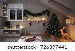 beautiful christmas interior  ...   Shutterstock . vector #726397441