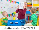 children with mom and draw... | Shutterstock . vector #726399721