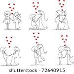 set of wedding pictures  bride... | Shutterstock .eps vector #72640915