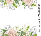Stock vector vector floral card art watercolor card design floral garden powder white light rose rose flower 726409249