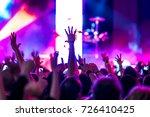 cheering crowd at rock concert... | Shutterstock . vector #726410425