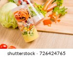 fresh salad with box package... | Shutterstock . vector #726424765