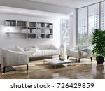 modern bright interiors. 3d...   Shutterstock . vector #726429859
