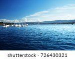 zurich lake with yachts ... | Shutterstock . vector #726430321