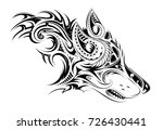 tribal style wolf head tattoo | Shutterstock .eps vector #726430441