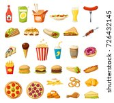 fast food flat icons set.... | Shutterstock .eps vector #726432145