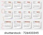 3d planning calendar in spanish ... | Shutterstock .eps vector #726433345